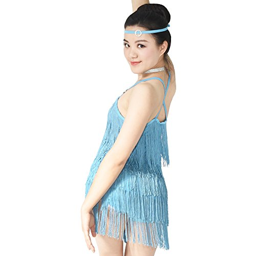 MiDee Latin Costume Dance Dress Camisole 5 Tires Fringed Flowying (SA, Sky Blue) - Ballroom Costume Fabric