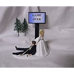 Wedding Party Reception Golf Golfer Clubs Game Over Groom Cake Topper