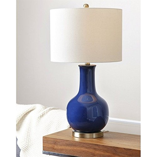 Abbyson Gourd Ceramic Table Lamp in Navy Blue by Abbyson Living