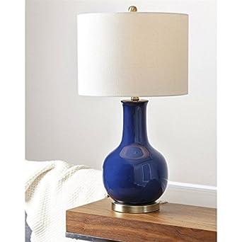 Abbyson Living Gourd Ceramic Table Lamp In Navy Blue