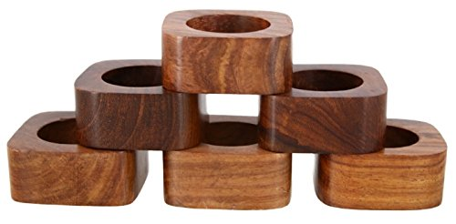 Shalinindia Handmade Party Decor Wooden Napkin Rings Set of 6 for Table Dinner Decoration (Napkin Holders Wooden)