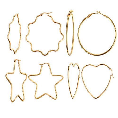 Vnox 4 Pairs Womens Girls Sister Stainless Steel Simple Big Star Heart Shape Hoop Round Earrings,Gold Plated,Clip-top ()