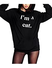 Tomteamell Woman I'm a Cat Letters Printing Hoodie Sweatshirt Pullover
