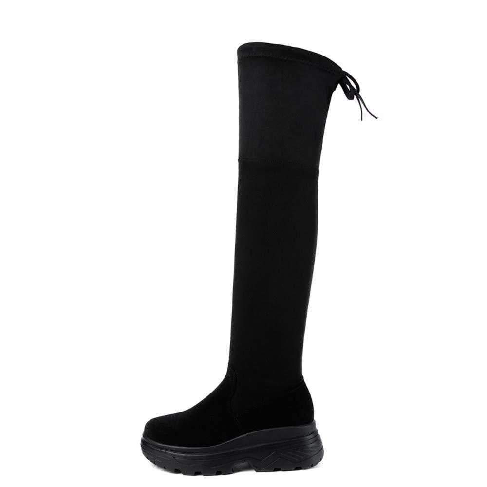 VonVonCo Femme Hiver Chaussures Chaud Bottes Loisir Genou Haut Plat é Pais Maigres Cuissardes Hautes Mode Noir) VonVonCo2018080004