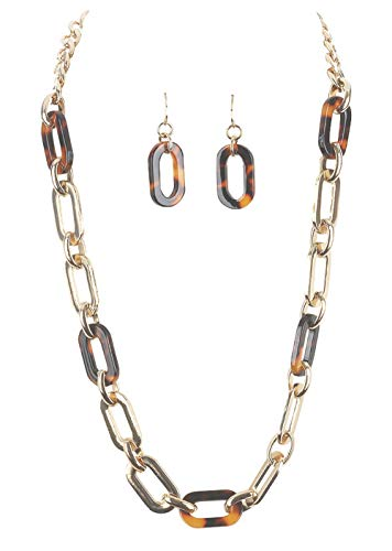 - Crystal Avenue Chunky Simple Gold-Tone and Brown Imitation-Tortoise Shell Cable Chain Necklace w/Dangle Earrings 21