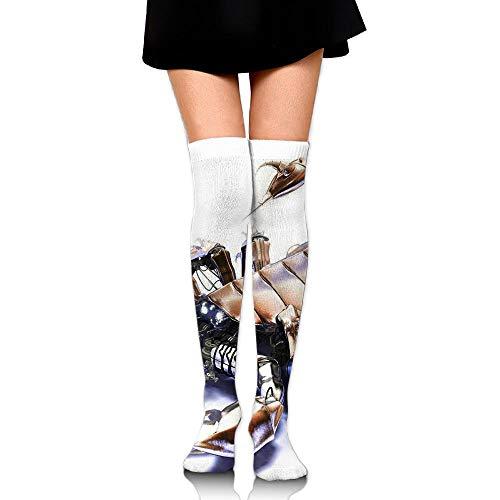 Amazing 3D Scorpion Robot Womens Long Socks,Cute Girls Skirt Stockings Knee Thigh Socks for Running Soccer Sports Dance Yoga Cycling Hiking Outdoor (Robot Biking)