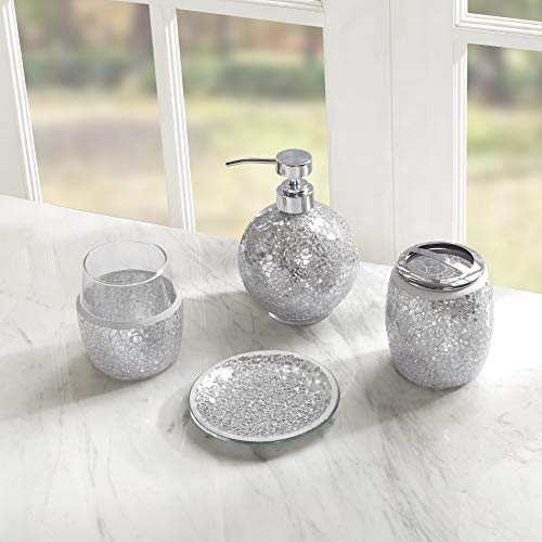 Cracked Glass Brush - 4pc Bathroom Accessories Set Glam Metallic Silver Cracked Glass Mosaic Pattern, Soap Dispenser Tumbler Toothbrush Holder Accessory Tray