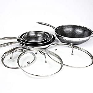 HexClad 7 Piece Hybrid Stainless/Nonstick Inside and Out cookware Set Commercial Includes Bonus STRI Fry