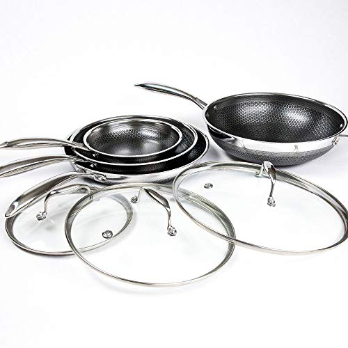 Non Stick Wok Set - Hexclad Hybrid Nonstick Commercial Cookware 7 Piece Set with Lids and Wok, Metal Utensil Safe, Induction Ready