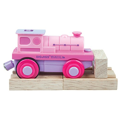 Bigjigs Rail Pink Battery Operated Train Engine Carriage with Wooden -