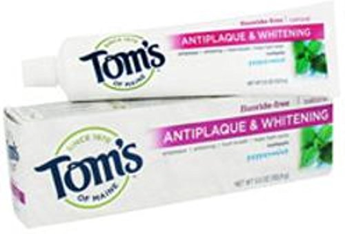 (Tom's of Maine Tom's of Main Antiplaque & Whitening Fluoride Free Peppermint Toothpaste 5.50 oz (Pack of 5))
