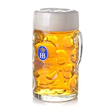 1 Liter HB Hofbrauhaus Munchen Dimpled Glass Beer Stein