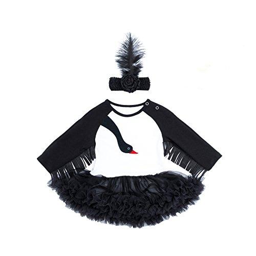 ALLAIBB Baby Girls Rompers Cartoon Crane Tutu Dress for Halloween Custome Size 59 (Black Crane)