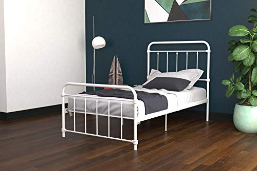 DHP Winston Metal Bed Frame, Multifunctional Piece with Adjustable Heights for Under Bed Storage, White - Twin