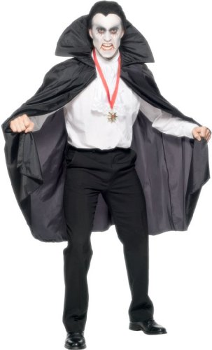 Smiffy's Unisex Cape with Collar, Black, Long, 45 inches, One Size, 840 (Adult Black Gothic Dress Costume)