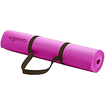 AmazonBasics 1/4-Inch Yoga and Exercise Mat with Carrying Strap, Purple