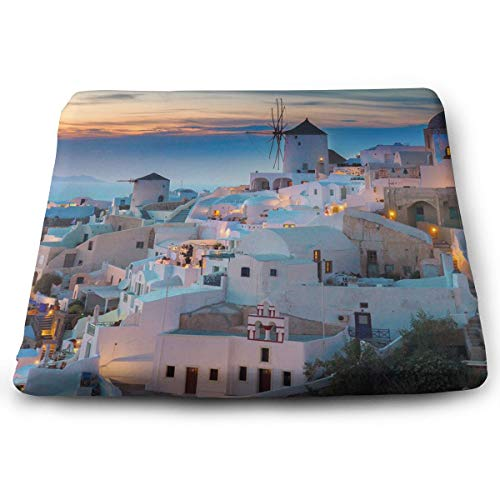 (DOVLbath Santorini City Memory Foam Seat Cushion Square Chair Cushion Pad Fits Car Chairs for Cushioning Comfort)