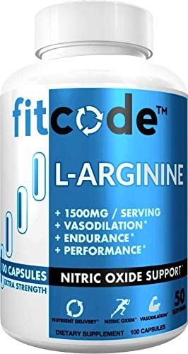 Fitcode Pure Extra Strength L-Arginine HCl 1500mg, Nitric Oxide Supplement for Vascularity, Pumps, Endurance, Performance, Muscle Growth Energy, Powerful Arginine N.O Muscle Pump Capsules 50 Serving