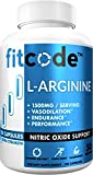 Fitcode Pure Extra Strength L-Arginine HCl 1500mg, Nitric Oxide Supplement for Vascularity, Pumps, Endurance, Performance, Muscle Growth & Energy, Powerful Arginine N.O Muscle Pump Capsules 50 Serving