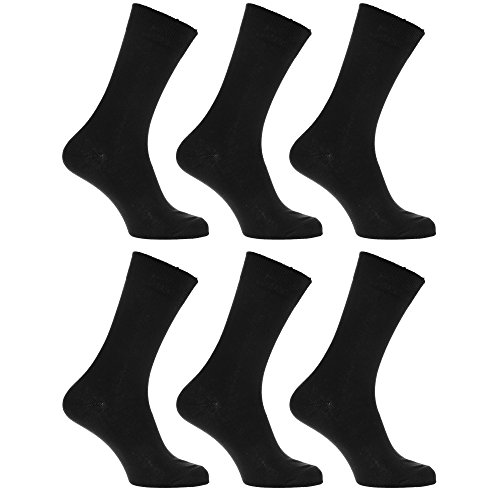 (Mens 100% Cotton Plain Work/Casual Socks (Pack Of 6) (US 7-12))