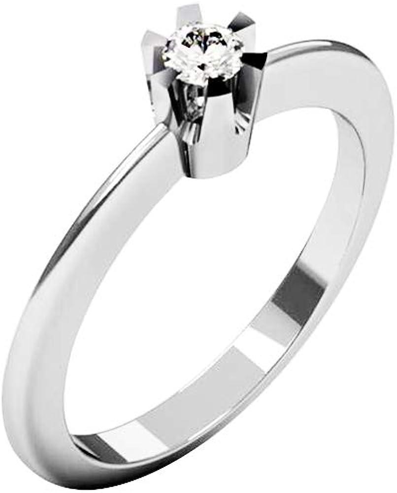 QUIMERA JEWELRY OL Anillo Solitario Oro Blanco 14kt con Diamante 0,11ct   Anillo Compromiso Oro Blanco y Diamante