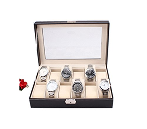 Watch Box Large 12 Mens Black Leather Display Glass Top Jewelry Case Organizer