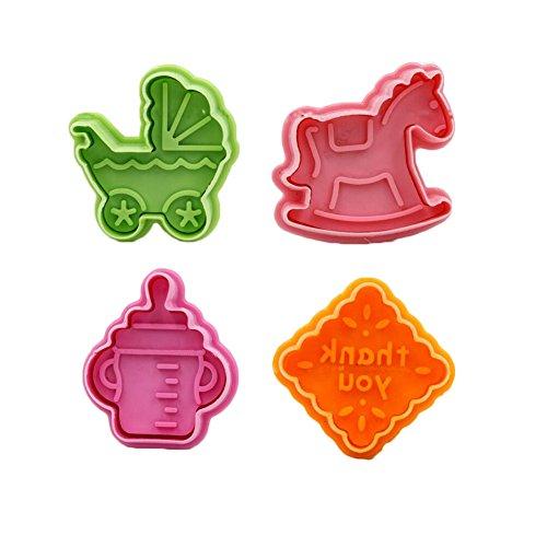 East Majik 4PCS Random Color Featuring Cookie Cutters of Children Toys Shape -