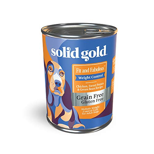 Solid Gold - Fit & Fabulous - Grain-Free Natural Chicken, Sweet Potato & Green Bean - Holistic Weight Control Canned Dog Food - 13.2 oz Can (12 Pack)