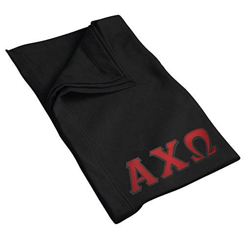 Alpha Chi Omega Sweatshirt Blanket with Twill Greek Letters (Black)