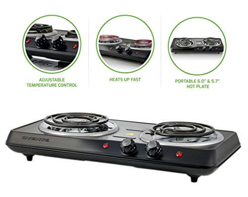 ertop Electric Double Burner with Adjustable Temperature Control, 6.0 & 5.7 Inch, Metal Housing, Indicator Light, Black ()