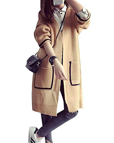 Lunga Confortevole Cardigan Manica Maglia Autunno Casuale Casual Con Slim Moda Outerwear Fashion Di Fit Battercake Tasche Kaki Elegante A Giacca Donna Donne Cappotto HIYEWD29