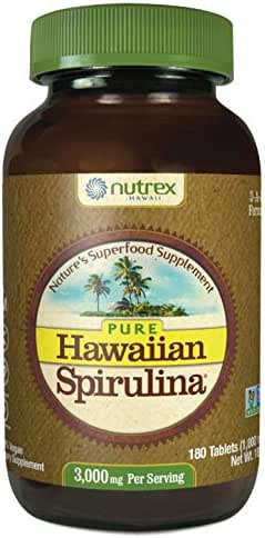 Pure Hawaiian Spirulina-1000 mg Tablets 180 Count - Natural Premium Spirulina from Hawaii - Vegan, Non-GMO, Non-Irradiated - Superfood Supplement & Natural Multivitamin