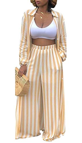 Womens Casual Stripes Two Piece Outfits Open Front Cardigan and Wide Leg Long Pants Set 12