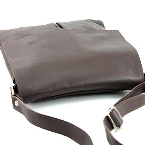 bolso mensajero hombro Ital Graubraun del de grande las del de modamoda de bolso cuero señoras T75 Bnv4wW5