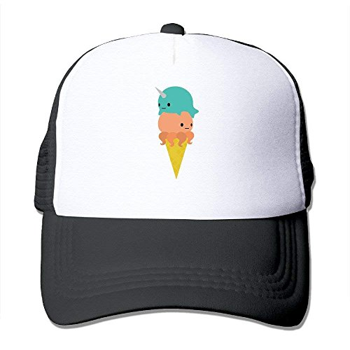 QKBUY Trucker Narwhal Opus Ice Cream Adjustable Mesh Back Baseball -