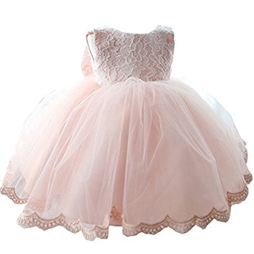 NNJXD Girls' Tulle Flower Princess Wedding Dress for Toddler and Baby Girl Pink 6-12 Months