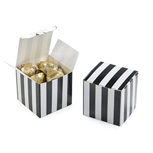 - AWELL Small Candy Box Bulk 2x2x2 inch, Black White Stripes Box Party Favors Pack of 50
