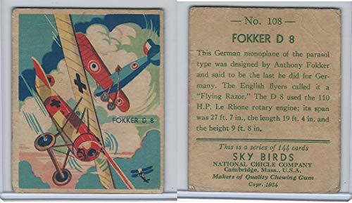144 Big Bird - R136 National Chicle, Sky Birds Series 144, 1933, 108 Fokker D 8 (B)