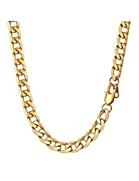 """Prosteel Miami Cuban Curb Link Chains Necklaces Men 4mm/6mm/7mm/9mm/13mm Wide 316L Stainless Steel Chain Jewelry 18k Gold/Black Gun Plated Necklace Women 18"""" 20"""" 22"""" 24"""" 26"""" 28"""" 30"""" Gift"""