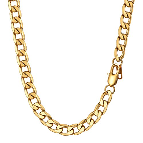PROSTEEL Miami Cuban Link Necklace 18K Gold Plated Stainless Steel 26'' Big Wide Chunky Necklace Hip Hop Chain Men Jewelry Gift by PROSTEEL
