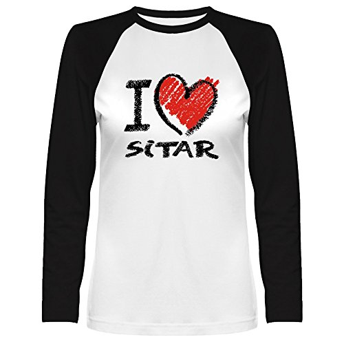 Idakoos I Love Sitar Chalk Style Musical Instrument Raglan Long Sleeve T-Shirt