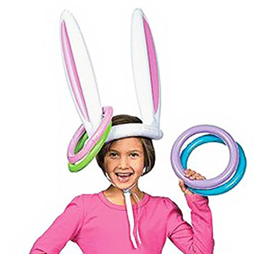 (Beautyer Inflatable Bunny Rabbit Ears Hat with Rings Hollween Holiday Party Costume)
