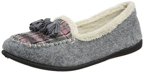 Pantofole Nappe Da Donna Felpe Stile Mocassino Grigio Combi