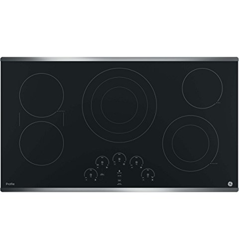 GE Profile 36″  Touch Control Black Glass Cooktop with Stainless Steel Trim
