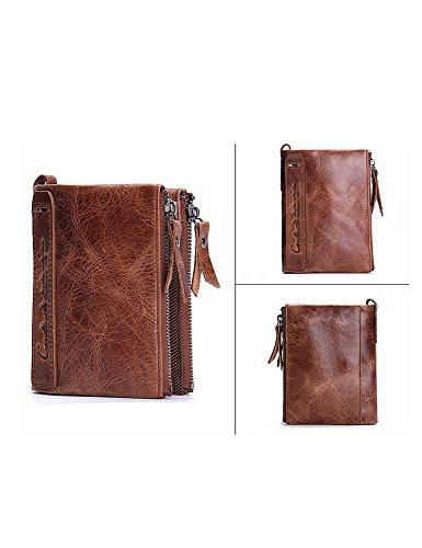 Lareinea Men Genuine Leather Cowhide Zip Wallet Vintage Bifold with Double Zipper Pockets (Brown) by Lareinae (Image #6)