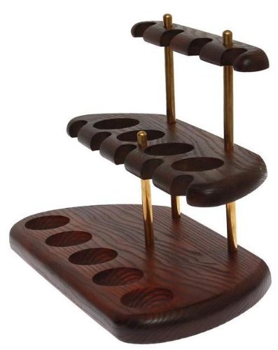Dr.Watson - 9 Smoking Pipe / Pipes Stand Rack Hold Case Display - Arch IX - Solid wood, Brass TA Decor 31014