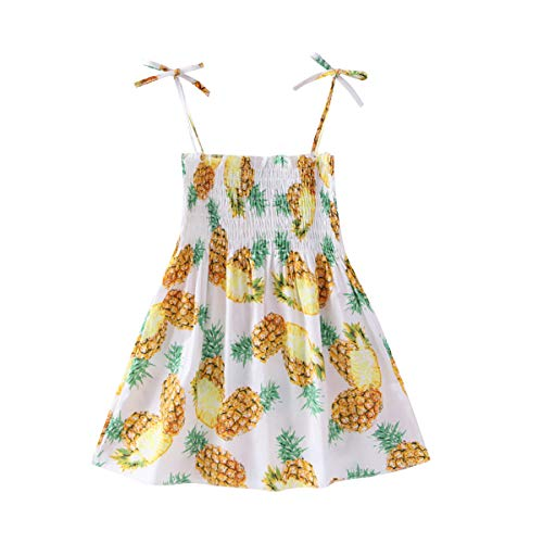 Casual Baby Girl Summer Beach Dress Outfits Kids Toddler Strap Elastic Pineapple Dress Playwear Clothes 130/5-6T]()