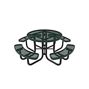 CoatedOutdoorFurniture TRD-GRN Top Round Portable Picnic Table, 46-Inch, Green