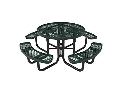Coated Outdoor Furniture TRD-GRN Top Round Portable Picnic Table, 46-inch, Green