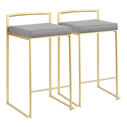 LumiSource Stacker Counter Stool in Gold and Gray - Set of 2
